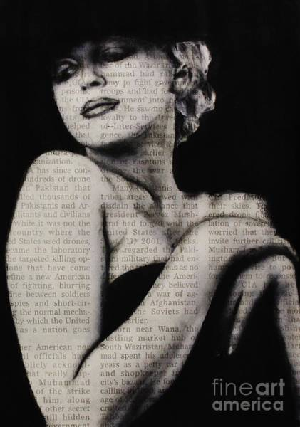 Drawing - Art In The News 13-marilyn by Michael Cross