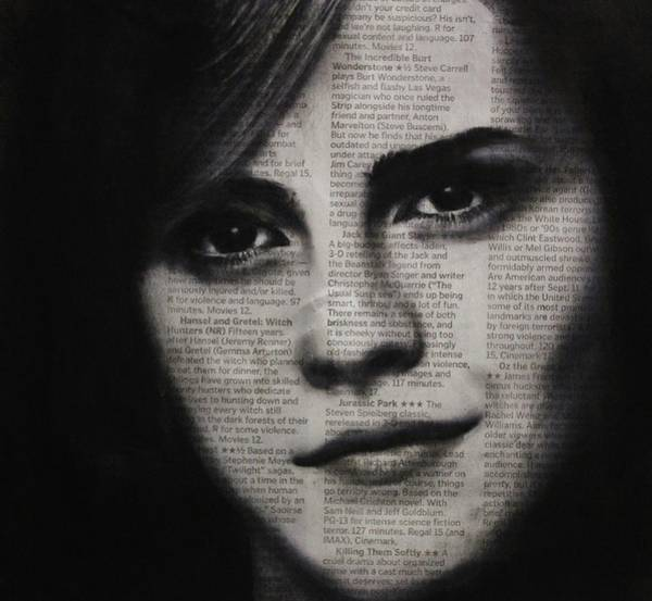 Drawing - Art In The News 17-emma Watson by Michael Cross