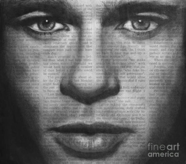 Drawing - Art In The News 32- Brad Pitt by Michael Cross