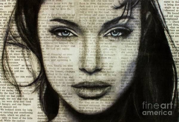 Drawing - Art In The News 44- Angelina Jolie by Michael Cross