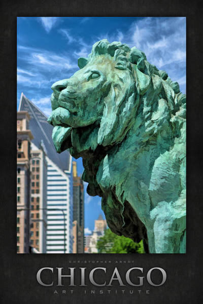 Bronze Painting - Art Institute In Chicago Lion Poster by Christopher Arndt