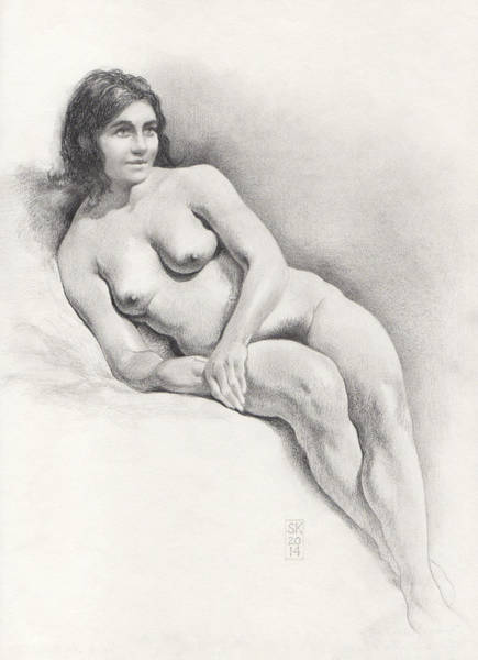 Drawing - Art Model Lounging On Her Right Side by Scott Kirkman