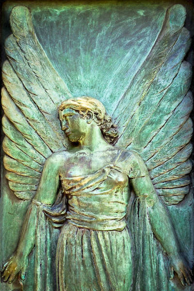 Photograph - Art Nouveau Guardian Angel In Pere Lachaise Paris by Mark E Tisdale