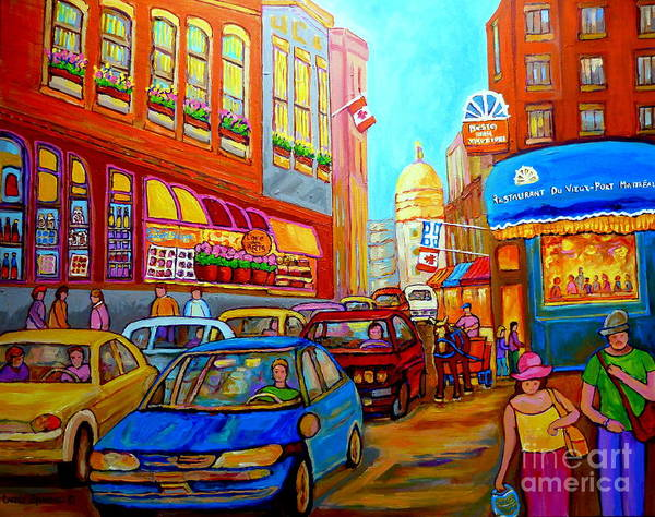 Painting - Art Of Montreal Summer Street Scenes Of Quebec With Caleche Near Cafes On Cobblestones Old Montreal by Carole Spandau