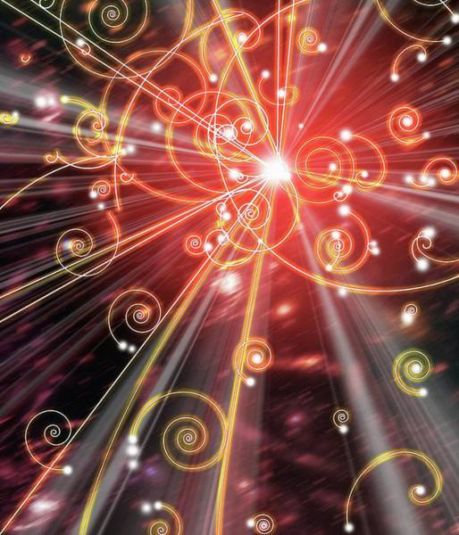 Particle Physics Wall Art - Photograph - Art Of Subatomic Particle Tracks by Mehau Kulyk/science Photo Library