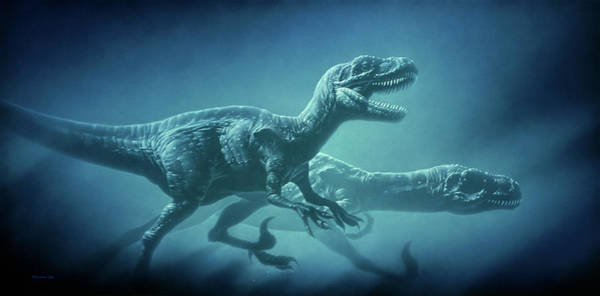 Wall Art - Photograph - Art Of Two Megaraptor Dinosaurs by Joe Tucciarone