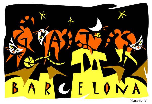 Wall Art - Digital Art - Art Postcard 4 Gats Barcelona by Arte Venezia