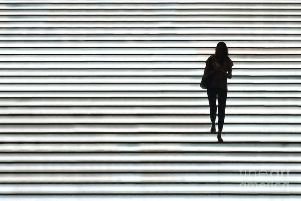 Stairs Wall Art - Photograph - Art Silhouette Of Girl Walking Down by Lars Ruecker