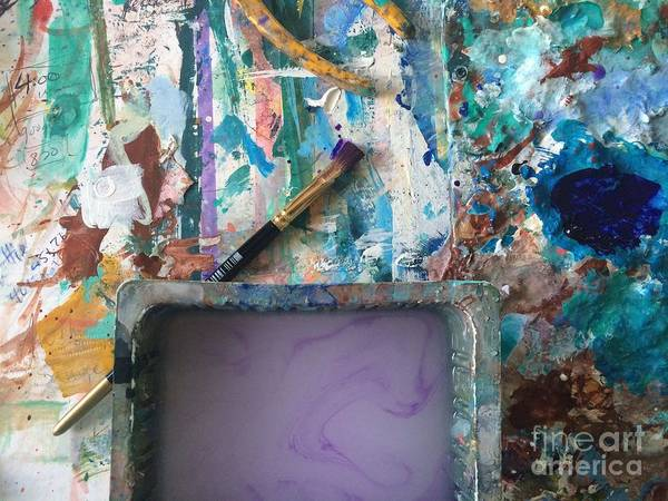 Photograph - Art Table With Water And Brush by Robin Maria Pedrero