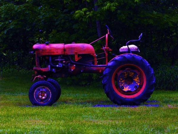Artful Photograph - Artful Tractor In Purples by Bill Tomsa