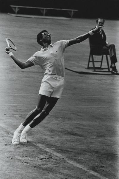 Two People Photograph - Arthur Ashe Playing Tennis by Jack Robinson