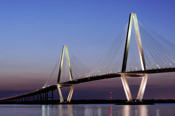 Southern Usa Photograph - Arthur Ravenel Jr Bridge At Night by Aimintang