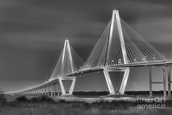Photograph - Arthur Ravenel Jr. Bridge In Black And White by Adam Jewell