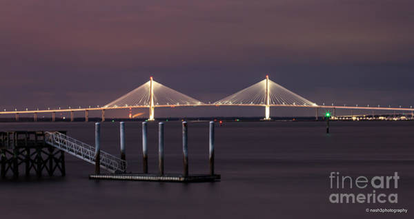 Photograph - Arthur Ravenel Junior Bridge And Dock by Donnie Whitaker