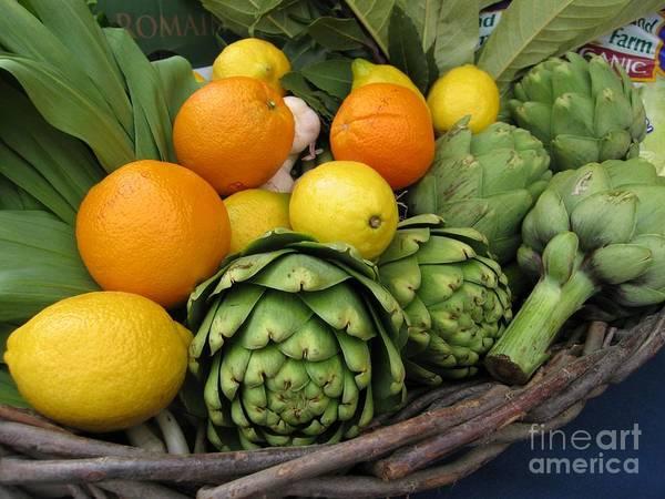 Artichokes Lemons And Oranges Art Print