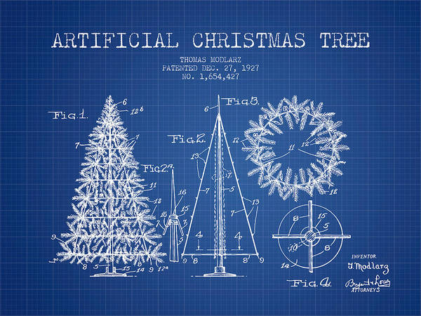 Christmas Tree Digital Art - Artifical Christmas Tree Patent From 1927 - Blueprint by Aged Pixel