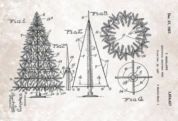 Painting - Artifical Christmas Tree Patent From 1927 by Celestial Images