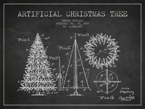 Christmas Tree Digital Art - Artifical Christmas Tree Patent From 1927 - Charcoal by Aged Pixel