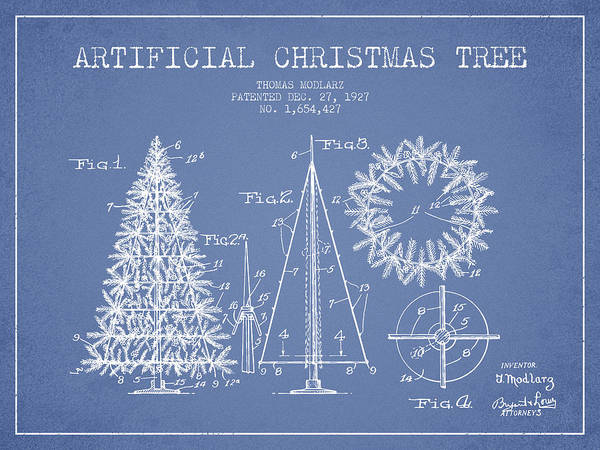 Christmas Tree Digital Art - Artifical Christmas Tree Patent From 1927 - Light Blue by Aged Pixel
