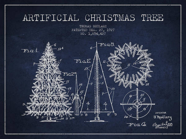 Christmas Tree Digital Art - Artifical Christmas Tree Patent From 1927 - Navy Blue by Aged Pixel