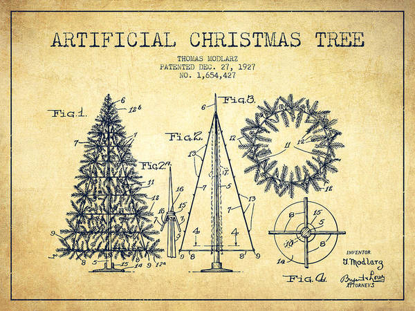 Christmas Tree Digital Art - Artifical Christmas Tree Patent From 1927 - Vintage by Aged Pixel