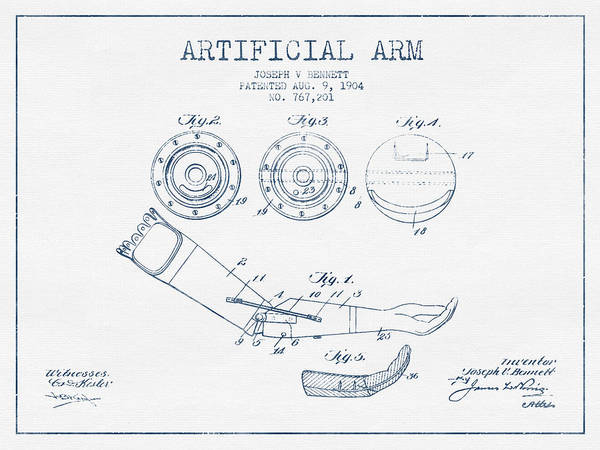 Armed Digital Art - Artificial Arm Patent From 1904 - Blue Ink by Aged Pixel