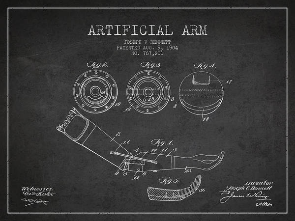 Armed Digital Art - Artificial Arm Patent From 1904 - Dark by Aged Pixel
