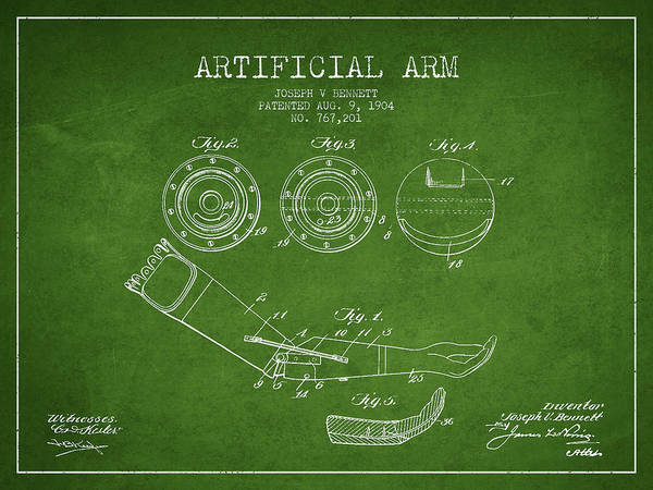 Armed Digital Art - Artificial Arm Patent From 1904 - Green by Aged Pixel
