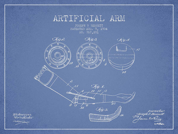 Armed Digital Art - Artificial Arm Patent From 1904 - Light Blue by Aged Pixel