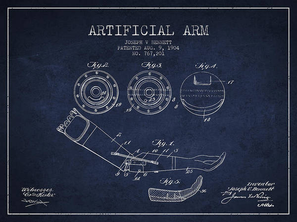 Armed Digital Art - Artificial Arm Patent From 1904 - Navy Blue by Aged Pixel