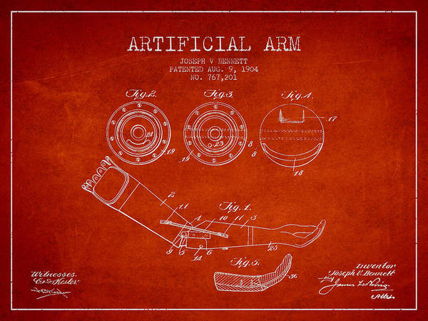 Armed Digital Art - Artificial Arm Patent From 1904 - Red by Aged Pixel