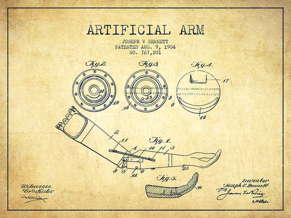 Armed Digital Art - Artificial Arm Patent From 1904 - Vintage by Aged Pixel