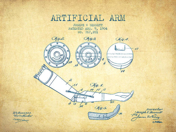 Armed Digital Art - Artificial Arm Patent From 1904 - Vintage Paper by Aged Pixel