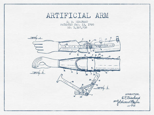 Armed Digital Art - Artificial Arm Patent From 1920 - Blue Ink by Aged Pixel
