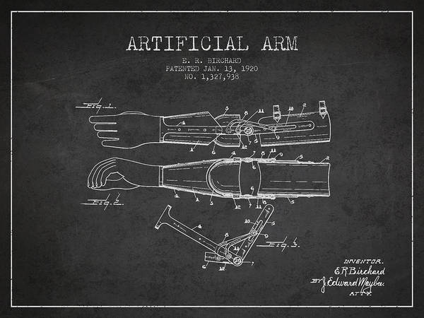 Armed Digital Art - Artificial Arm Patent From 1920 -dark by Aged Pixel