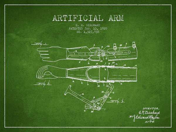 Armed Digital Art - Artificial Arm Patent From 1920 - Green by Aged Pixel