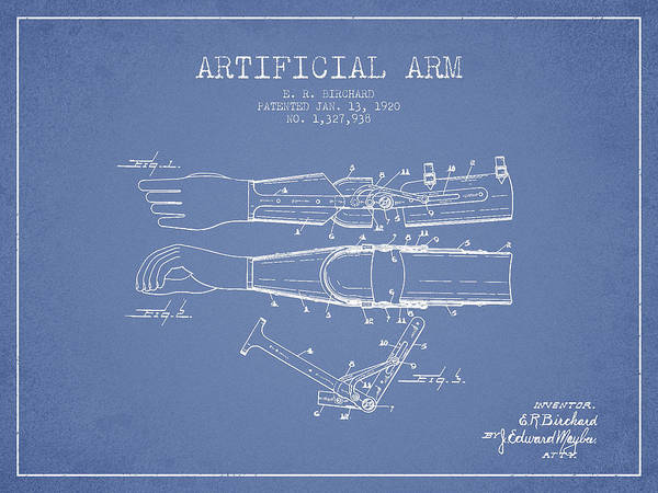 Armed Digital Art - Artificial Arm Patent From 1920 - Light Blue by Aged Pixel