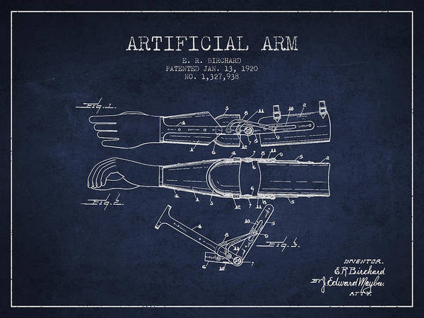 Armed Digital Art - Artificial Arm Patent From 1920 - Navy Blue by Aged Pixel