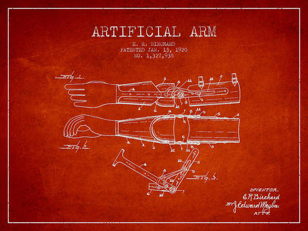 Armed Digital Art - Artificial Arm Patent From 1920 - Red by Aged Pixel