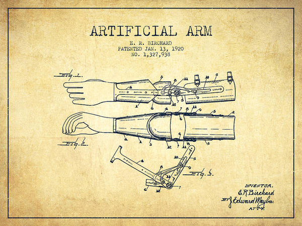 Armed Digital Art - Artificial Arm Patent From 1920 - Vintage by Aged Pixel