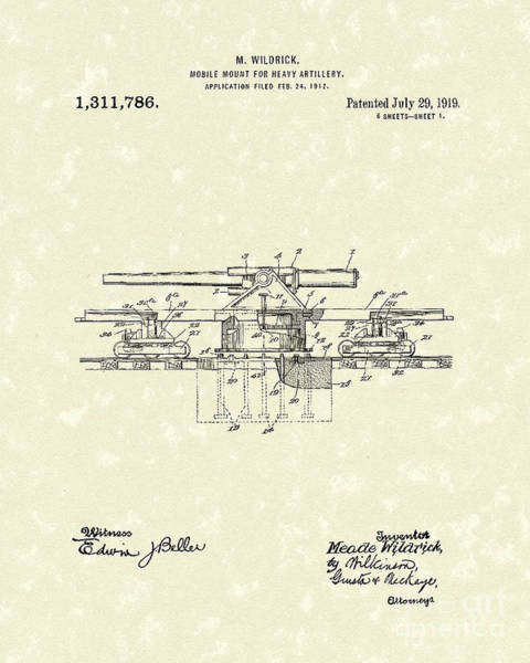 Wall Art - Drawing - Artillery Mount 1919 Patent Art by Prior Art Design