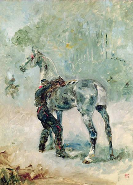 Wall Art - Painting - Artilleryman Saddling His Horse, 1879  by Henri de Toulouse-Lautrec