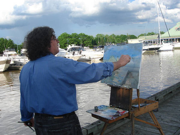Outdoor Photograph - Artist At Work Port Credit Mississauga On by Ylli Haruni
