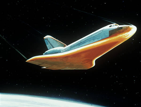 Entry Photograph - Artist Impression Of Shuttle During Re-entry. by Nasa/science Photo Library