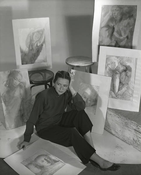 Indigenous People Photograph - Artist Irena Wilet Surrounded By Her Drawings by Horst P. Horst