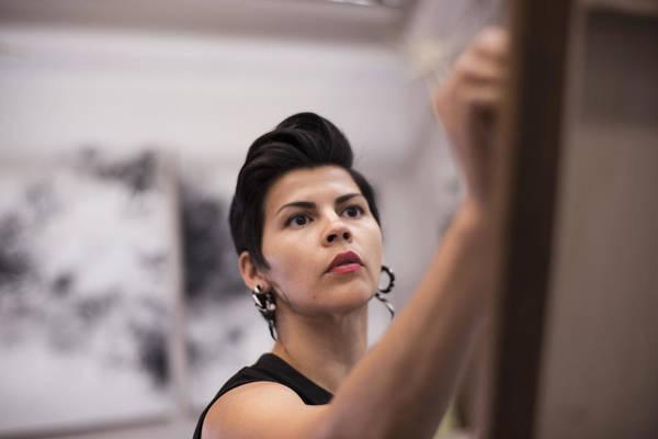 Artist Painting In Her Studio Art Print by Scott Zdon