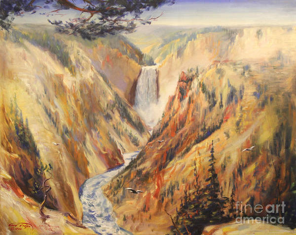 Painting - Artist Point At Yellowstone 1940 by Art By Tolpo Collection