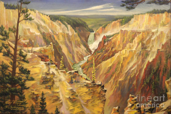 Painting - Artist Point At Yellowstone 1949 by Art By Tolpo Collection