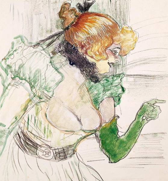 Confident Painting - Artist With Green Gloves - Singer Dolly From Star At Le Havre by Henri de Toulouse Lautrec