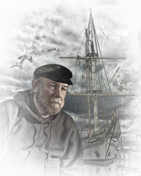 Angler Art Photograph - Artistic Digital Image Of An Old Sea Captain by Randall Nyhof